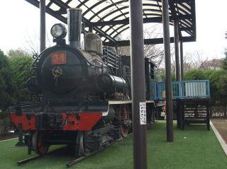 萩中公園に保存されているSL。裏には入替用の機関車も